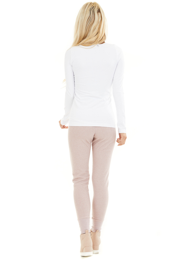 Pale Blush Thermal Knit Sweatpants with Elastic Waistband back full body