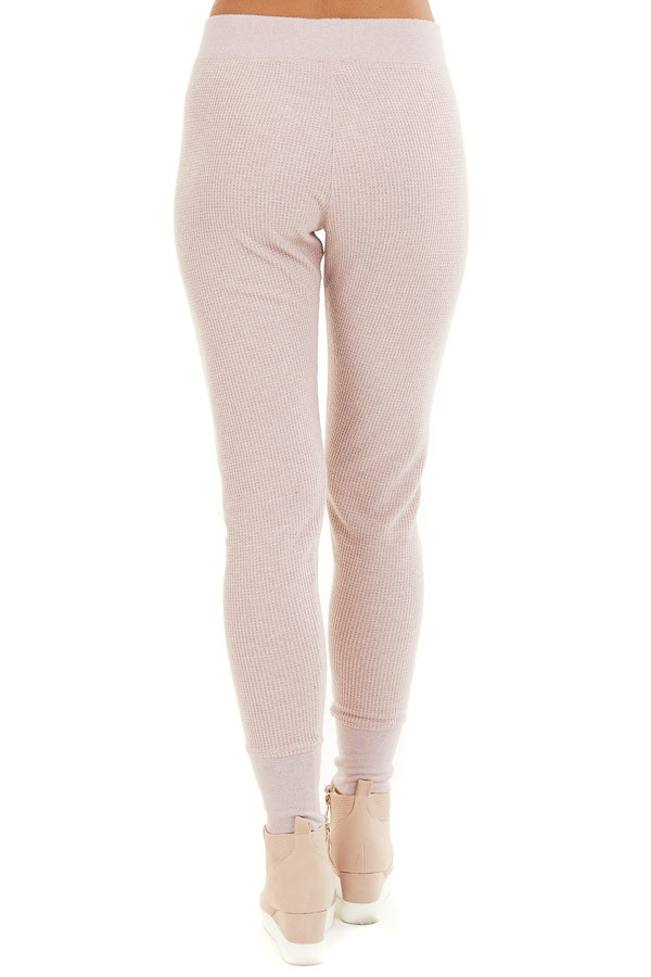 Pale Blush Thermal Knit Sweatpants with Elastic Waistband back view