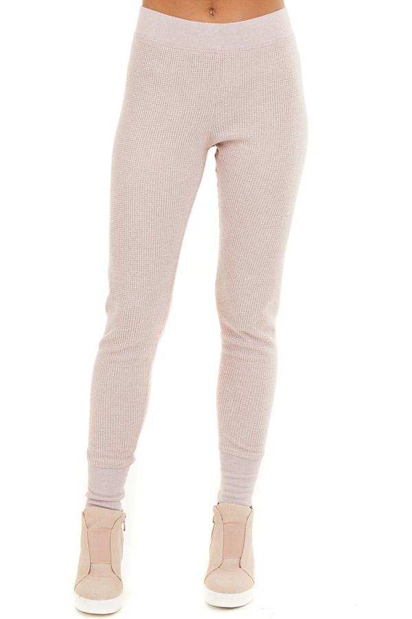 Pale Blush Thermal Knit Sweatpants with Elastic Waistband front view