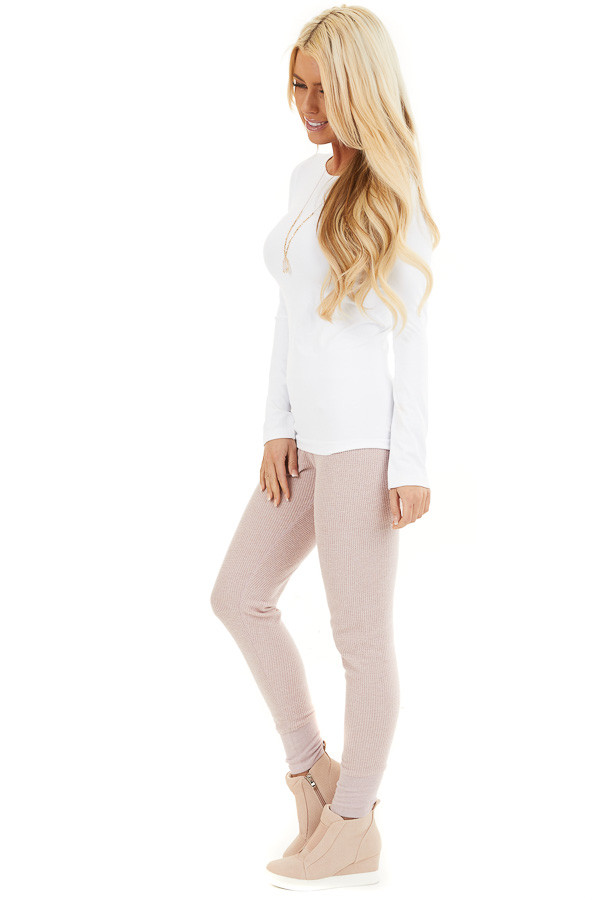Pale Blush Thermal Knit Sweatpants with Elastic Waistband side full body