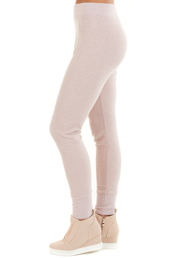 Pale Blush Thermal Knit Sweatpants with Elastic Waistband side view