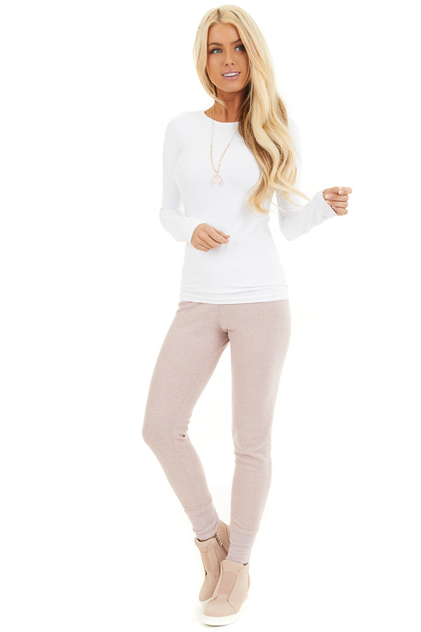 Pale Blush Thermal Knit Sweatpants with Elastic Waistband front full body