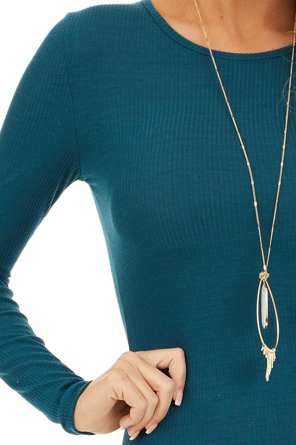 Dark Teal Ribbed Knit Mini Dress with Long Sleeves detail