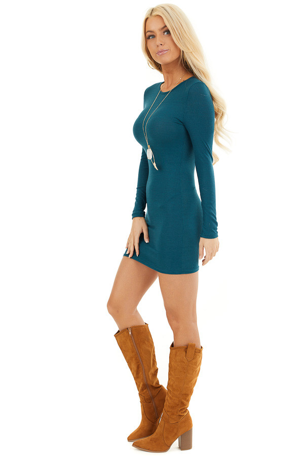 Dark Teal Ribbed Knit Mini Dress with Long Sleeves side full body