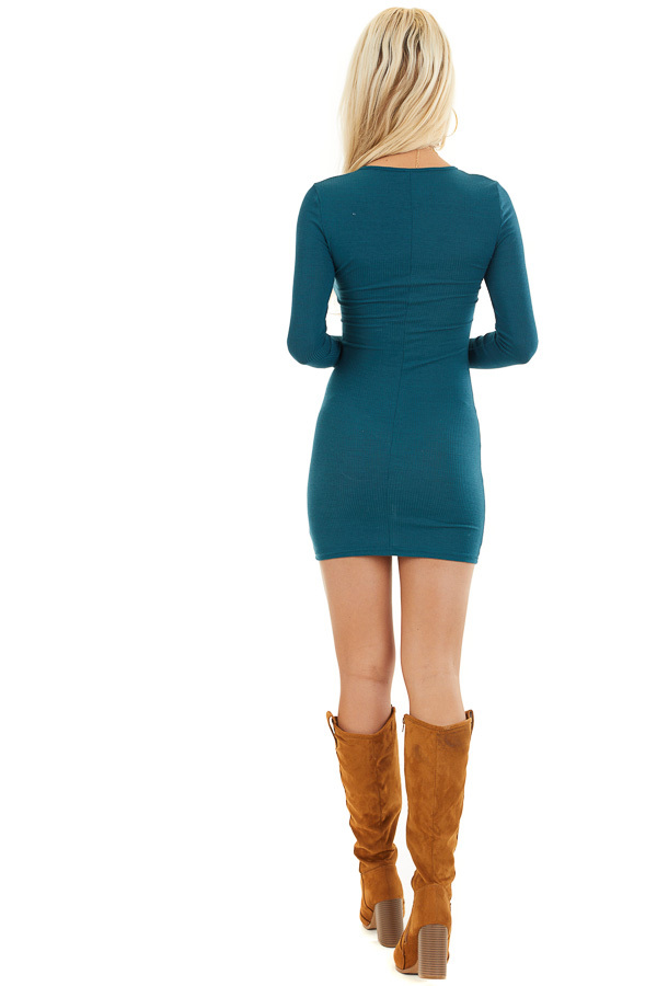 Dark Teal Ribbed Knit Mini Dress with Long Sleeves back full body