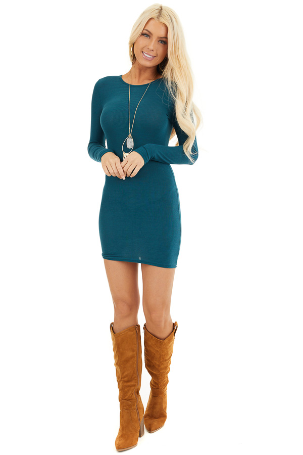 Dark Teal Ribbed Knit Mini Dress with Long Sleeves front full body