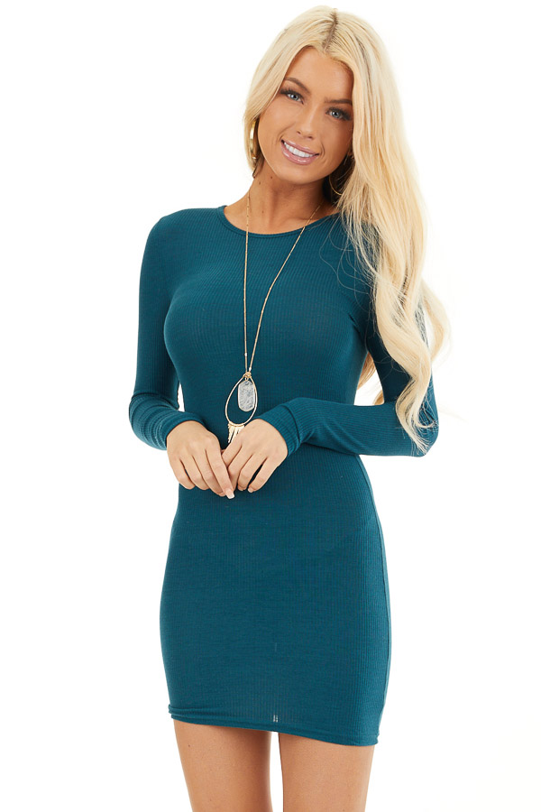 Dark Teal Ribbed Knit Mini Dress with Long Sleeves front close up