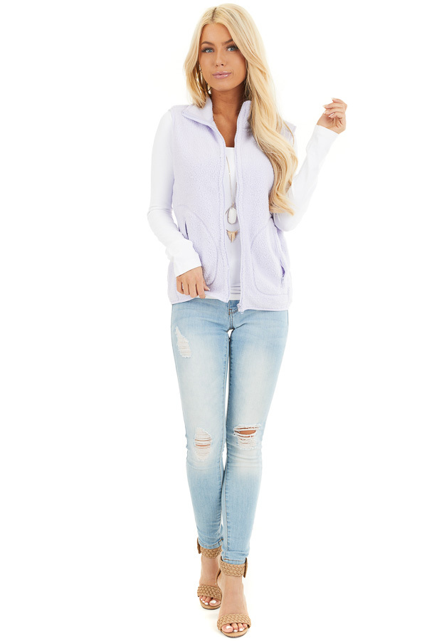Light Lavender Sherpa Vest with Pockets and Collar front full body