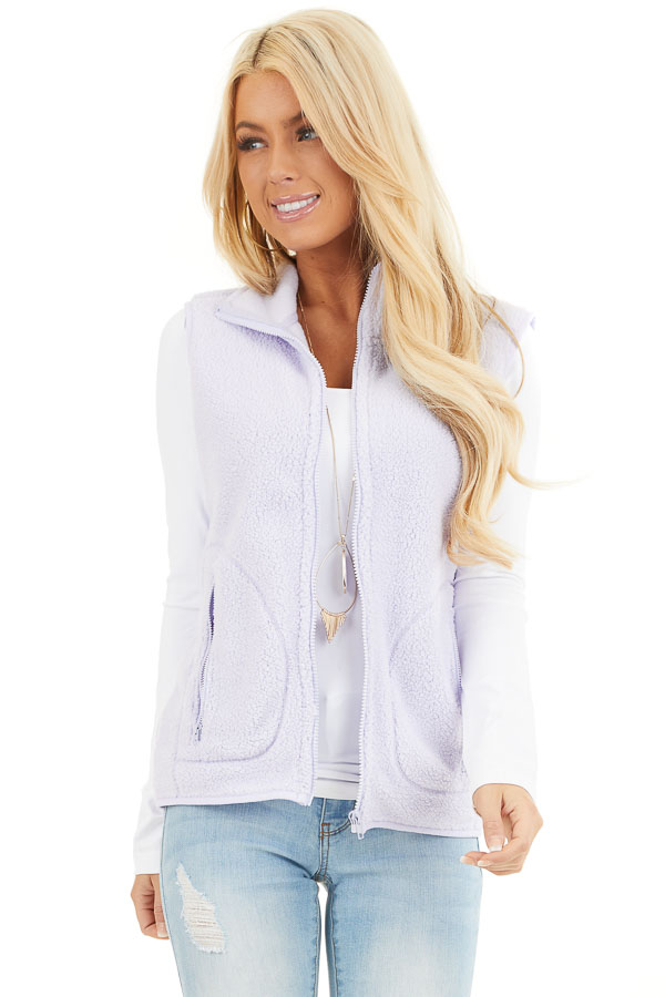 Light Lavender Sherpa Vest with Pockets and Collar front close up