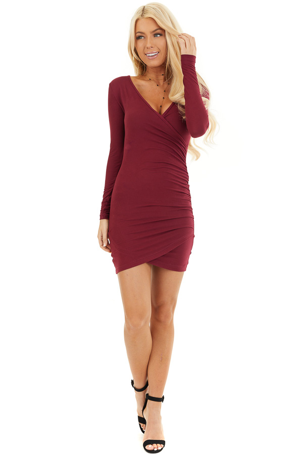 Wine Long Sleeve Surplice Dress with Side Ruching front full body