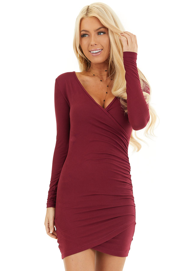 Wine Long Sleeve Surplice Dress with Side Ruching front close up