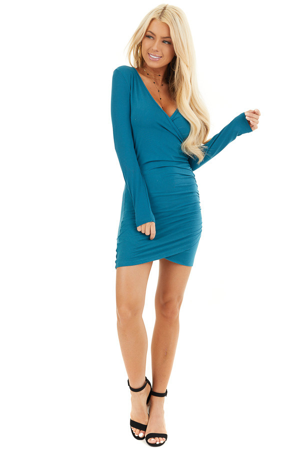 Dark Teal Long Sleeve Surplice Dress with Side Ruching front full body