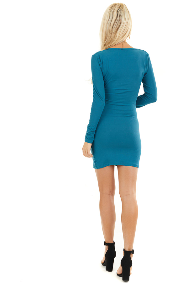 Dark Teal Long Sleeve Surplice Dress with Side Ruching back full body