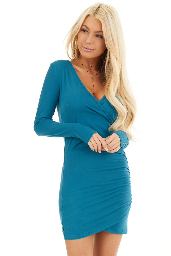 Dark Teal Long Sleeve Surplice Dress with Side Ruching front close up