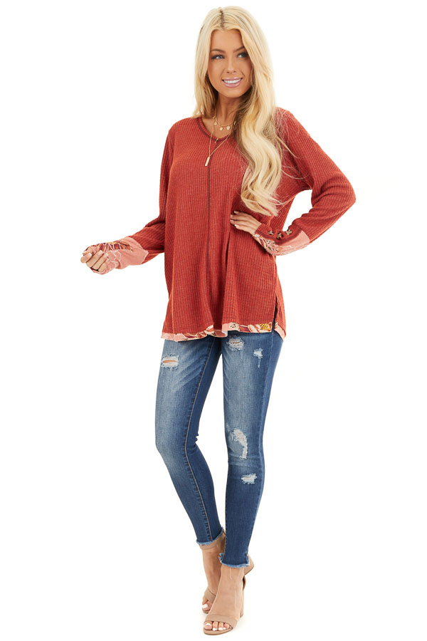 Tomato Long Sleeve Waffle Knit Top with Floral Contrast front full body