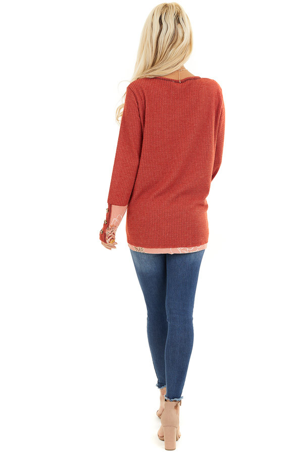 Tomato Long Sleeve Waffle Knit Top with Floral Contrast back full body