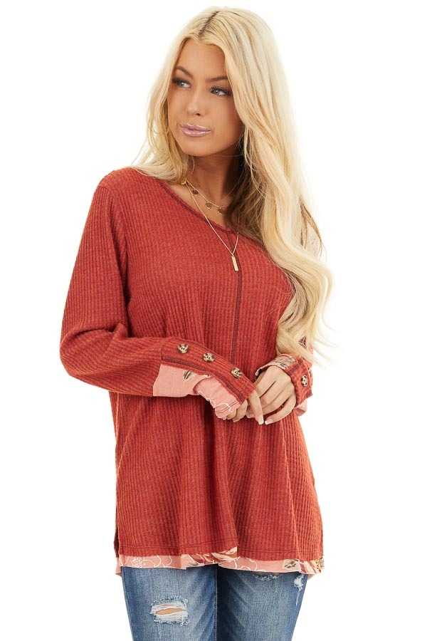 Tomato Long Sleeve Waffle Knit Top with Floral Contrast front close up