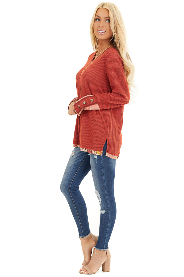 Tomato Long Sleeve Waffle Knit Top with Floral Contrast side full body