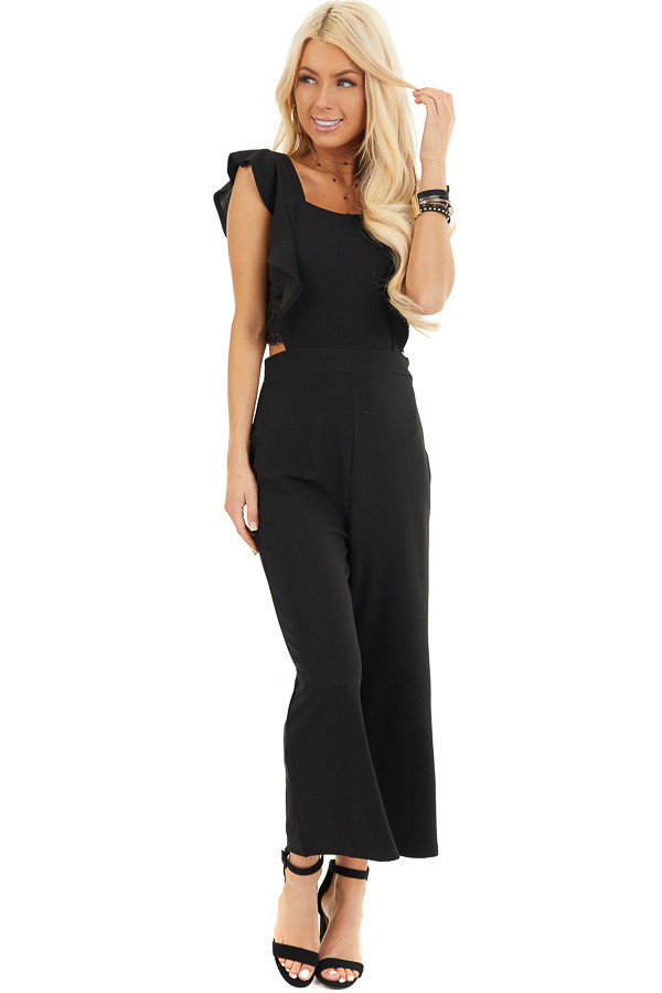 Black Wide Leg Jumpsuit with Open Back and Ruffle Details front full body
