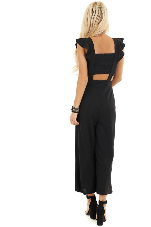 Black Wide Leg Jumpsuit with Open Back and Ruffle Details back full body