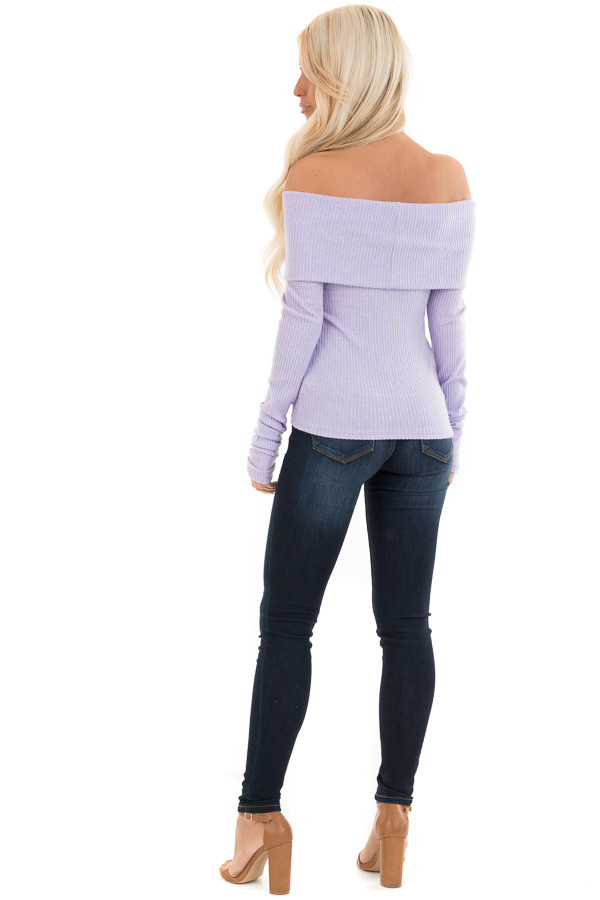 Pale Lavender Ribbed Off the Shoulder Top with Long Sleeves back full body