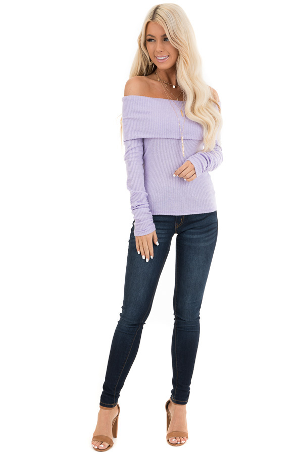 Pale Lavender Ribbed Off the Shoulder Top with Long Sleeves front full body