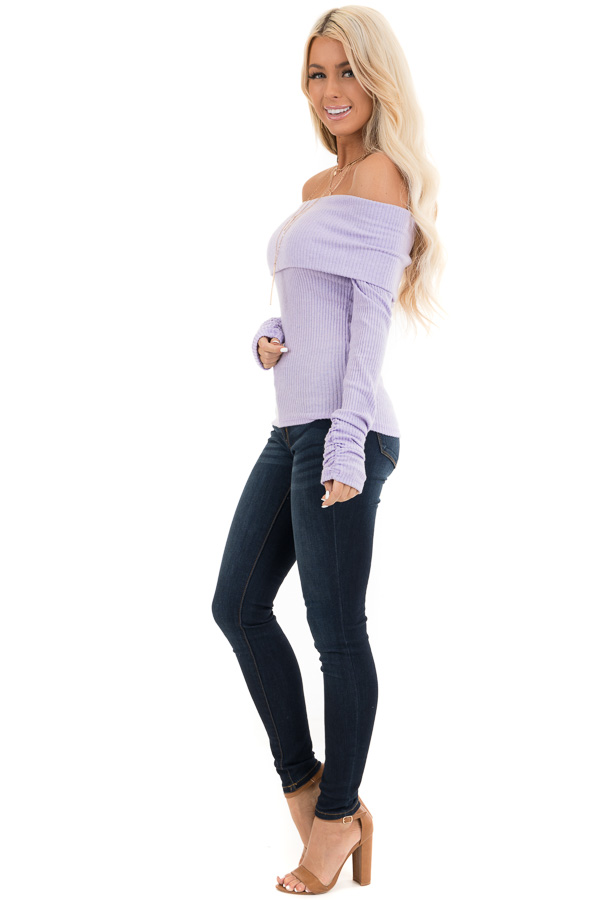 Pale Lavender Ribbed Off the Shoulder Top with Long Sleeves side full body