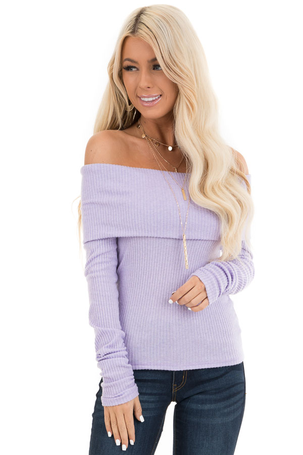 Pale Lavender Ribbed Off the Shoulder Top with Long Sleeves front close up