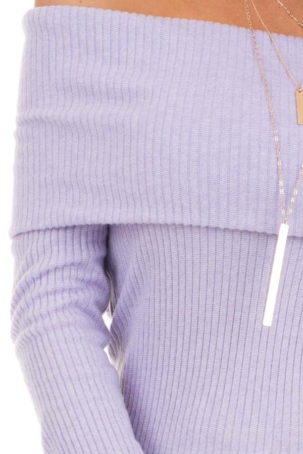 Pale Lavender Ribbed Off the Shoulder Top with Long Sleeves detail