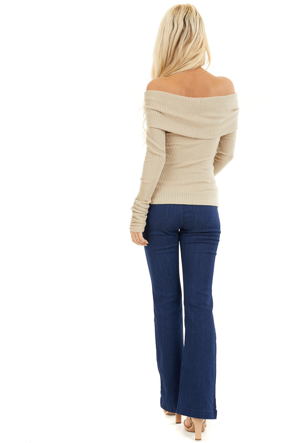 Beige Ribbed Off the Shoulder Top with Long Sleeves back full body