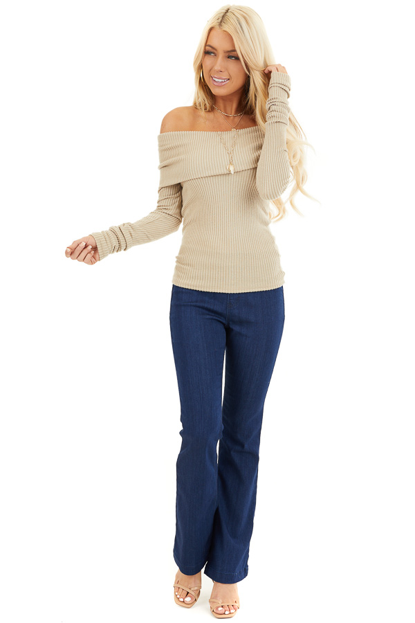 Beige Ribbed Off the Shoulder Top with Long Sleeves front full body