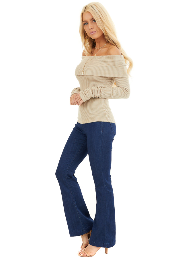 Beige Ribbed Off the Shoulder Top with Long Sleeves side full body