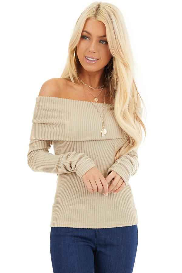 Beige Ribbed Off the Shoulder Top with Long Sleeves front close up