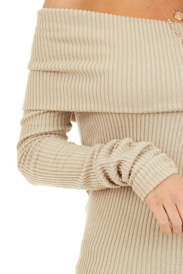 Beige Ribbed Off the Shoulder Top with Long Sleeves detail