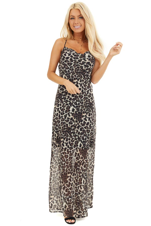 Cream Leopard Print Sleeveless Maxi Dress with Draped Front front full body