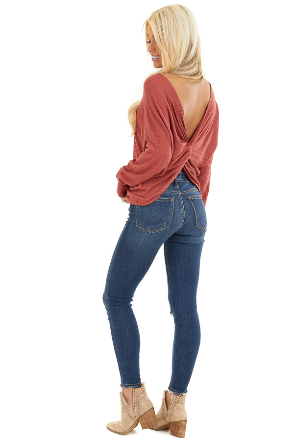 Terra Cotta Waffle Knit Top with Back Knot Detail side full body