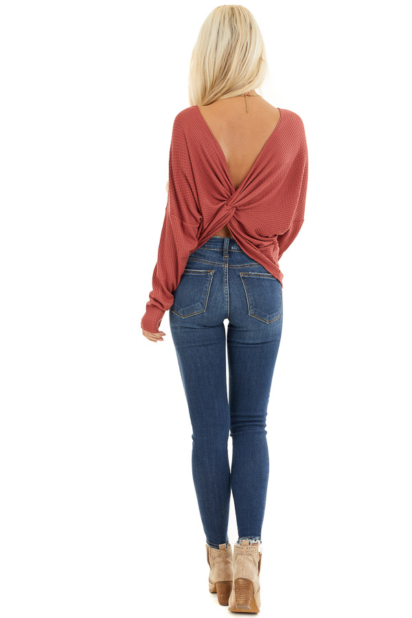 Terra Cotta Waffle Knit Top with Back Knot Detail back full body