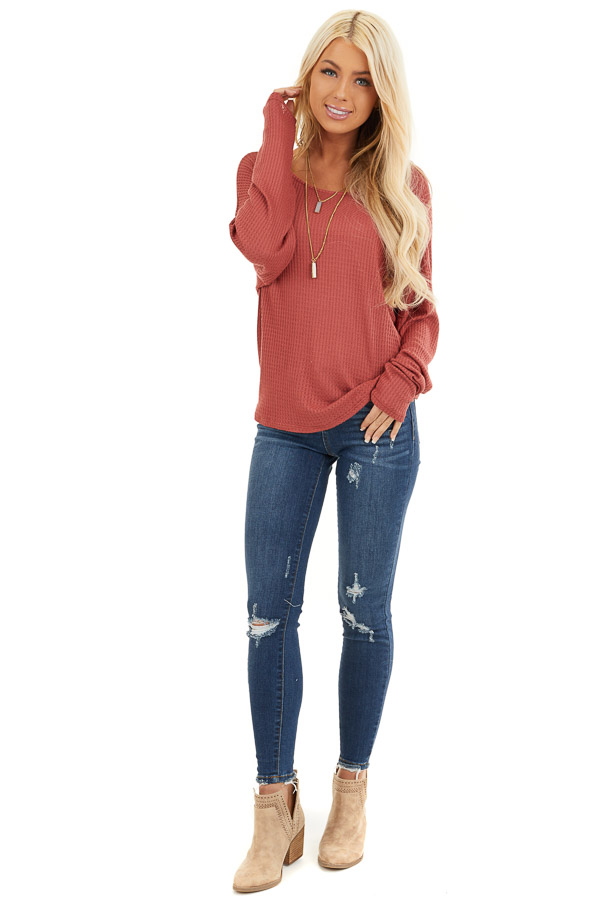Terra Cotta Waffle Knit Top with Back Knot Detail front full body