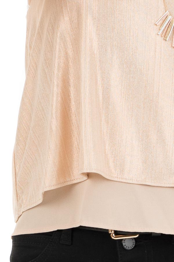 Gold Metallic V Neck Spaghetti Strap Top with Layered Lining detail