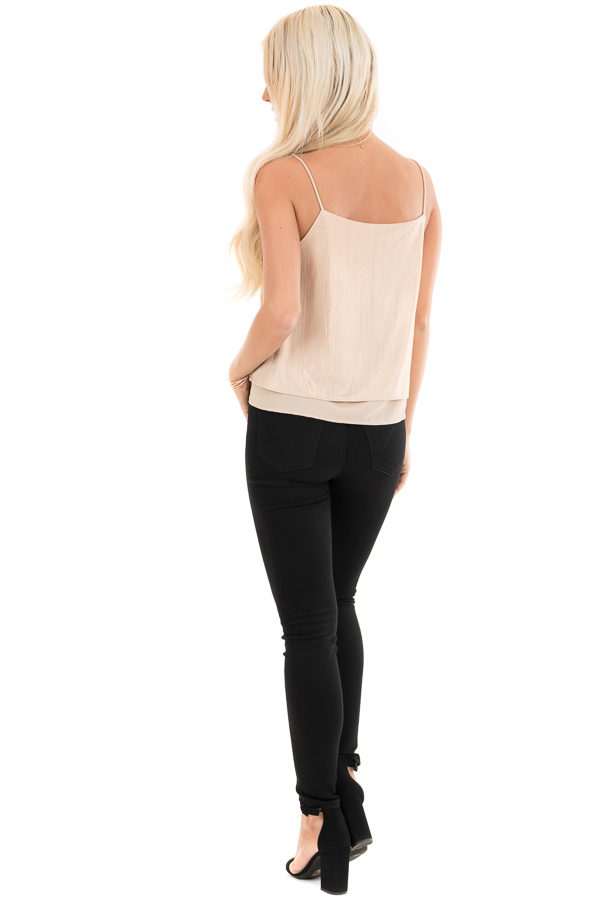 Gold Metallic V Neck Spaghetti Strap Top with Layered Lining back full body