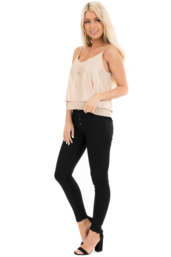 Gold Metallic V Neck Spaghetti Strap Top with Layered Lining side full body