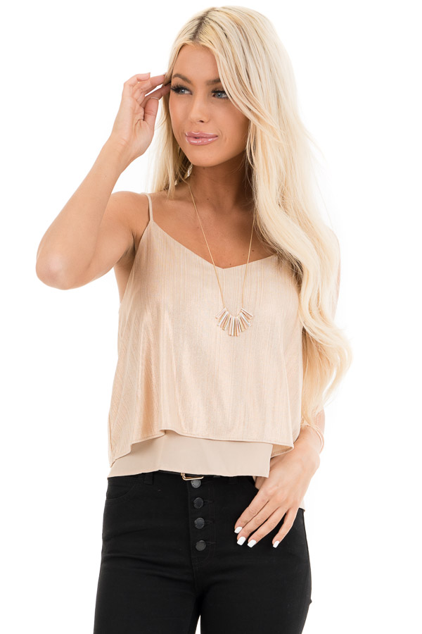 Gold Metallic V Neck Spaghetti Strap Top with Layered Lining front close up
