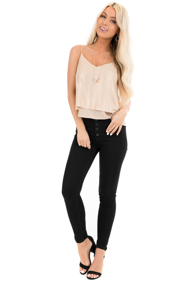 Gold Metallic V Neck Spaghetti Strap Top with Layered Lining front full body