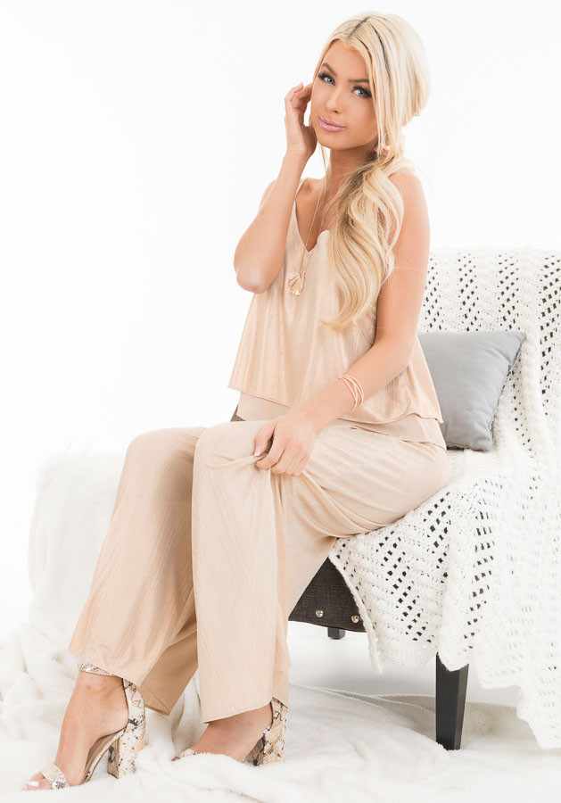Gold Metallic V Neck Spaghetti Strap Top with Layered Lining