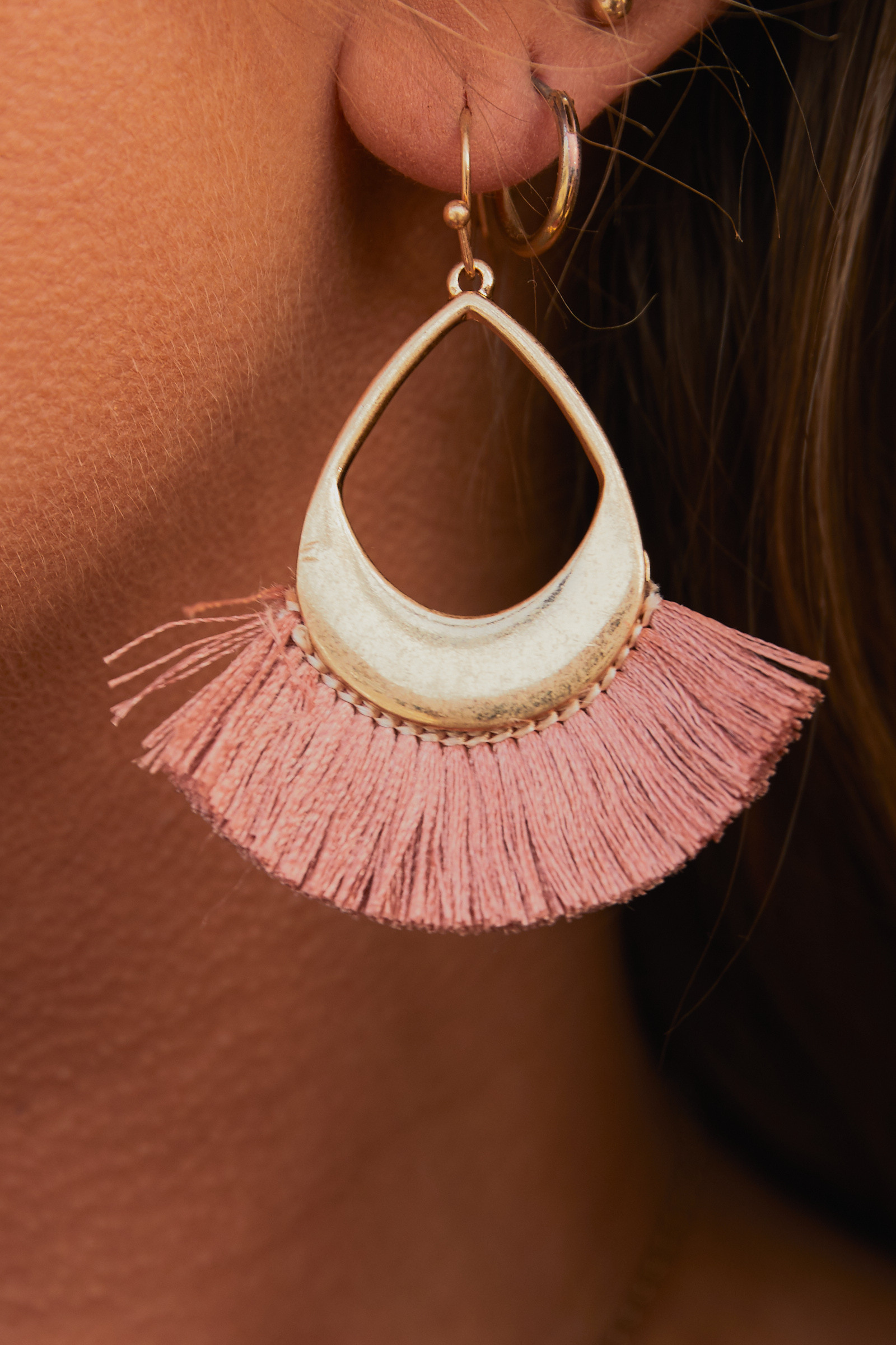 Gold Dangle Earrings with Mauve Fringe Details