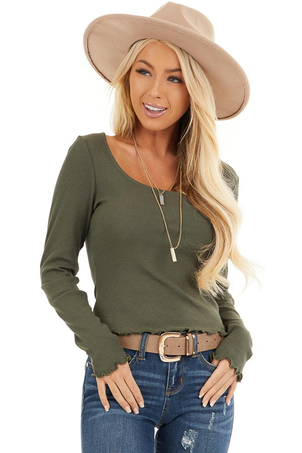Olive Green Ribbed Long Sleeve Top with Square Neckline front close up
