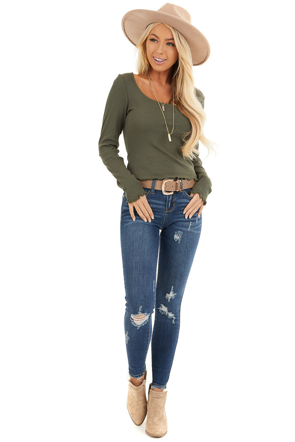 Olive Green Ribbed Long Sleeve Top with Square Neckline front full body