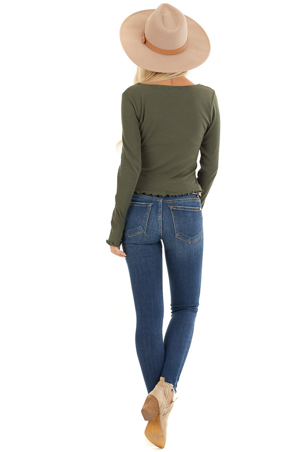 Olive Green Ribbed Long Sleeve Top with Square Neckline back full body