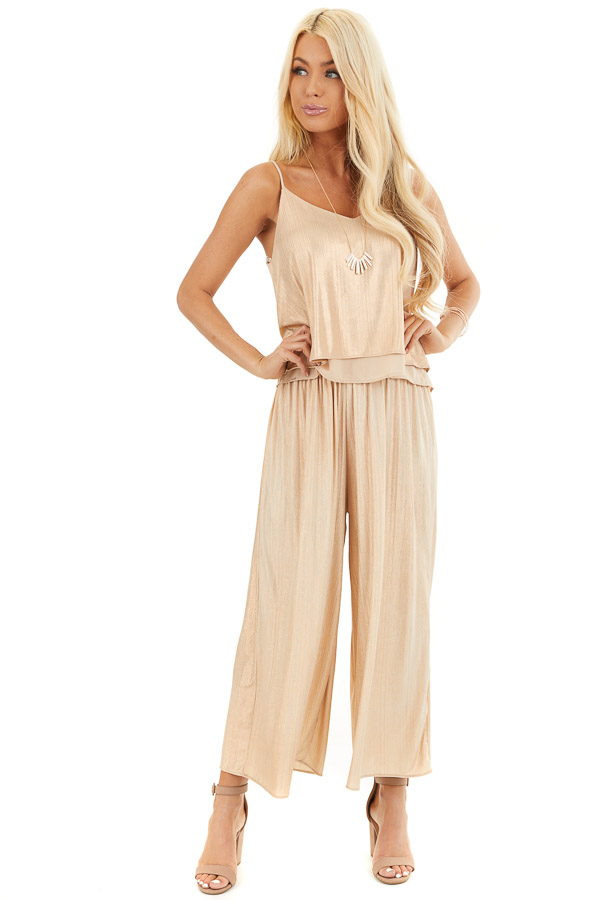 Gold Metallic Wide Leg Pants with Elastic Waistband front full body