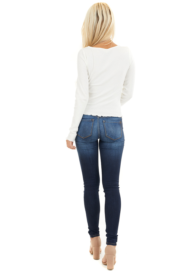 Soft White Ribbed Long Sleeve Top with Square Neckline back full body